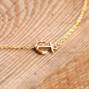 gold anchor necklace, sea necklace,  Small Anchor Necklace, nautical jewelry, anchor jewelry, Everyday Necklace