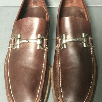 SALVATORE FERRAGAMO Brown Penny Loafers Men's Shoes Size 10