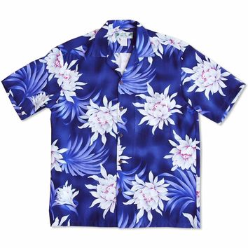 Manoa Cereus Purple Hawaiian Rayon Shirt