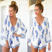Long Sleeve V-neck Print Dress Jumpsuit [7278858311]