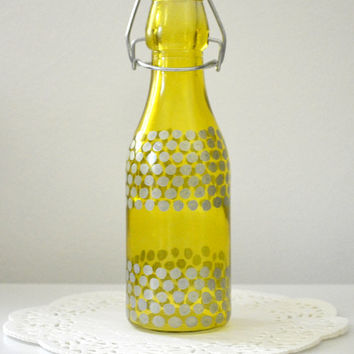 Polka Dot Glass Vase, Glass Bottle Vase, Home Decor, Painted Bottle, Polka Dots, Window Decor