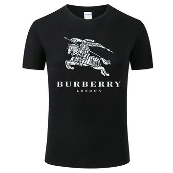 Burberry New fashion war horse letter print couple top t-shirt Black