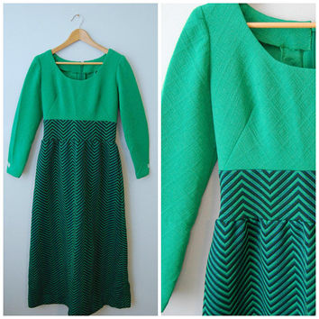 Vintage 1960's Long Sleeve Maxi Dress Chevron Skirt with Scoop Neck Top Handmade Midcentury Green Navy Blue Quilted Patterned Groovy Dress