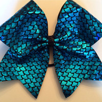 Cheer Bow - Turquoise Scales