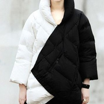 2015 Best-selling Europe And The United States Women's Black And White Coak Stitching Down Jacket tType Asymmetric Winter Coat