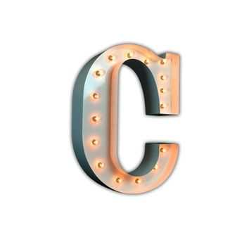 """24"""" Letter C Lighted Marquee Letters (White Gloss)"""