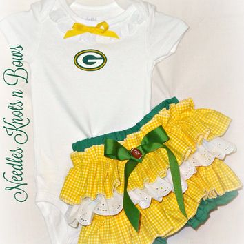 Girls Greenbay Packers Cheerleader Outfit, Baby Girls Packers Football Game Day Outfit, Coming Home Outfit