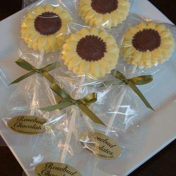 12 Vanilla White Chocolate Sunflower Lollipops Flower Garden Party Favors Dessert Table Candy