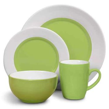 Style Deluxe 16 Piece Dinnerware Set, Green, White, Stoneware