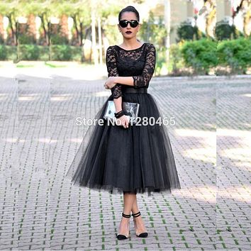 Robe Cocktail Courte 2016 Tea Length Short Black Cocktail Dress Homecoming Dress with Graduation Dress Vestidos de Coctel