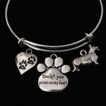 You Left Paw Prints on My Heart Memorial Corgi Dog Adjustable Bracelet Expandable Charm Bangle Meaningful Dog Lover Gift
