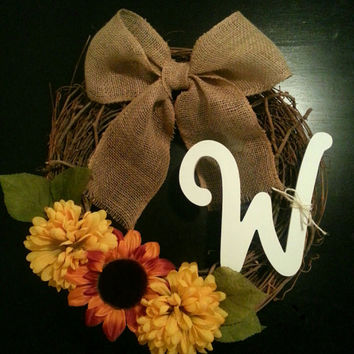 Grapevine Wreath with Chevron or white Monogram, Fall Floral and & a Burlap Bow
