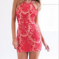 Lace Halter Neck Backless Dress