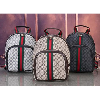 GUCCI Woman Men Fashion Leather Backpack Tote Daypack Bookbag