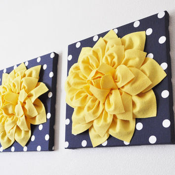 "Two Yellow Dahlia Flowers on Navy and White Polka Dot 12 x12"" Canvases"