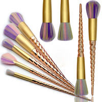 Unicorn 10pcs Gold Thread Makeup Brushes