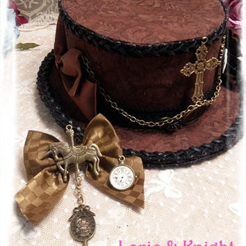 Retro Brown Steampunk Mini Top Hat