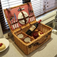 Wicker Picnic Basket Set for 2, Rattan Picnic Basket with Cutlery, Willow Picnic Basket