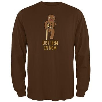 Gingerbread Man Lost Them In Nom Brown Adult Long Sleeve T-Shirt