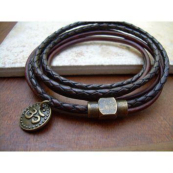 Leather Triple Wrap Bracelet with Om Charm and Antique Brass Magnetic Clasp, Leather Bracelet, Mens Bracelet, Womens Bracelet, Om, Namaste,