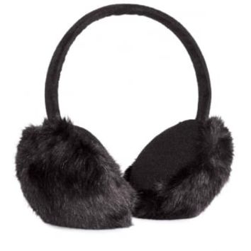 Black Fluffy Ear Muffs | Attitude Clothing