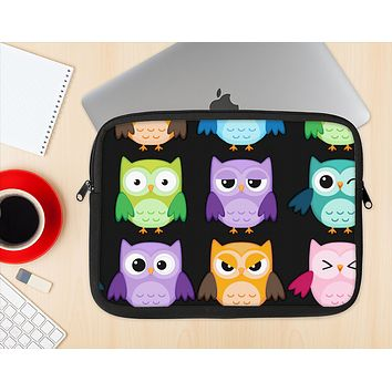 The Emotional Cartoon Owls Ink-Fuzed NeoPrene MacBook Laptop Sleeve