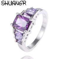 SHUANGR Trendy Created Zircon Purple&Pink Crystal Clear CZ for Women Fashion Party Wedding Engagement Ring jewellery