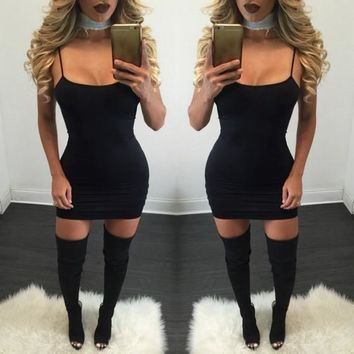 Casual Black Square Neck Spaghetti Strap Backless Slim Bodycon Club Mini Dress