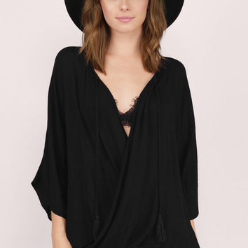 Comfort Zone Wrap Blouse