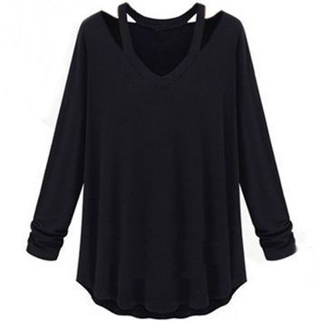 Womens Casual Tee Tops Cotton Soft Long Sleeve V-neck Loose Solid T-Shirt Blouse S-5XL = 1930373444