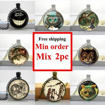 2016 Alice in Wonderland Necklace Cheshire Cat Necklace Fairytale Jewelry Girls Glass Cabochon Necklace HZ1