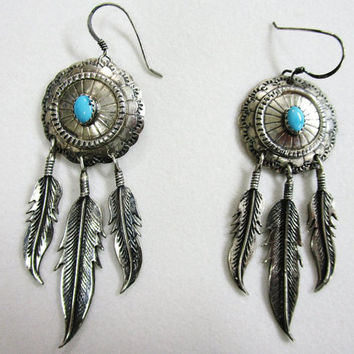 Vintage Sterling Turquoise Feather Drop Pierced Earrings Native  American