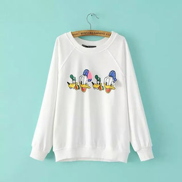 Donald Duck Beaded Print Sweater