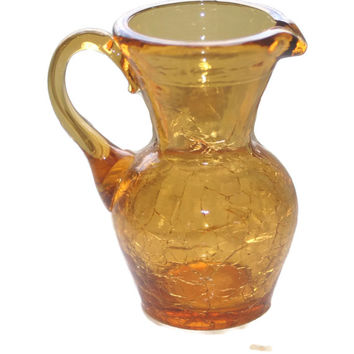 Miniature Amber Crackle Glass Pitcher, Vintage Glass, Home Decor, Pitcher Vase