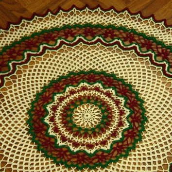 Crocheted Lace 21-Inch Doily - Red Flowers, Green, White Accent Decor