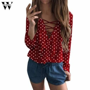 DCCKFS2 Womail  Women Ladies Long Sleeve Loose Blouse Spring Autumn Polka Dot V Neck Shirt Tops Blusa se25