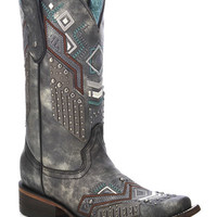 Corral Women's Tribal Pattern Studded Cowgirl Boots - Square Toe
