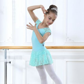 Short Sleeves Hollow Lace Ballet Dress Girls Bodysuit Clothes Children Ballerina Dress Kids Gymnastics Leotard Dance Costumes