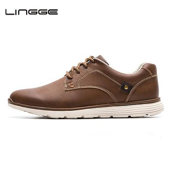 LINGGE Brand New Men Shoes, High Quality Fashion Designer Men Casual Shoes, Faux Leather Lace Up Casual Shoes Men, #IL007-2