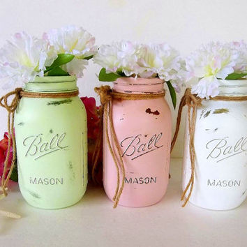 Set of 3 Quart Painted Mason Jars, distressed jars, pink, mint green, white, vase vases, Beach decor, rustic, wedding, shower, home decor