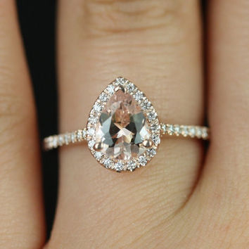 Tabitha 14kt Rose Gold Pear Morganite  and Diamonds Halo Engagement Ring (Other metals and stone options available)
