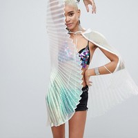Savage Rainbow Irridescent Pleated Cape at asos.com