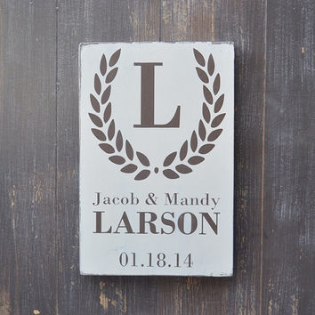 Bridal Shower Gift, Wedding Gift, Anniversary gift, Custom Wedding Sign, Engagement Gift, Monogram