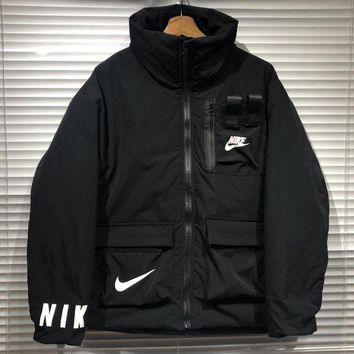 NIKE tide brand wild men and women models neck high collar functional tooling cotton jacket