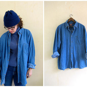 90s Jean Shirt Worn In Denim Shirt Button Up Oversized Distressed Jean Shirt Pocket Oxford Shirt Mens Size XL
