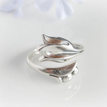 Vintage Modernist Tulip Ring by Avon - Georg Jensen Style Thumb Ring - Sterling Silver Adjustable Ring -  Size 7 1/2