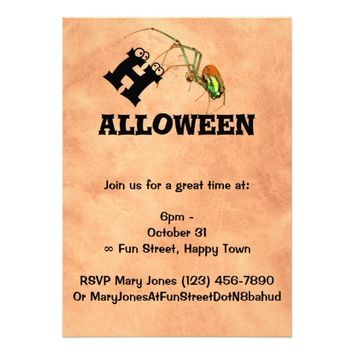 Funny Cool Creepy Ghost Spider Halloween 5x7 Paper Invitation Card