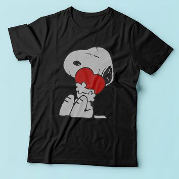 The Peanut Gang Snoopy Hug Heart Love Men'S T Shirt