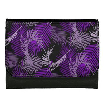 Purple Palm Leaves Pattern Women's Wallet