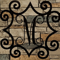 "Large Single Metal Initial Vine Monogram  With Wrought Iron Inspired Scroll Border 32""-48"""